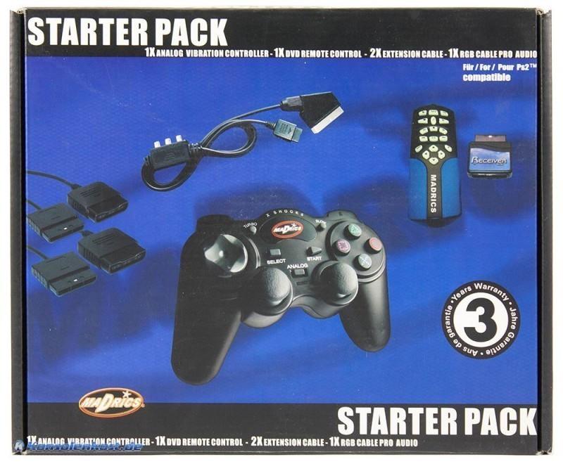 Controller / Pad #schwarz + Scartkabel + Remote + 2 Verlängerungskabel) [Madrics]