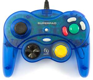 Superpad Controller / Pad #blau-transp. mit Vibration [InterAct]