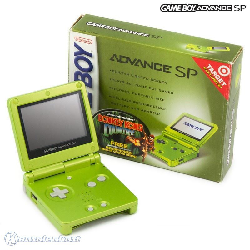Konsole GBA SP + DK Country + Netzteil #Lime Green Limited Ed.