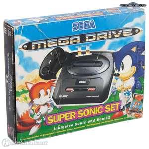 Konsole MD2 #Super Sonic Set + 2 Spiele + 2 Original Controller + Zubehör