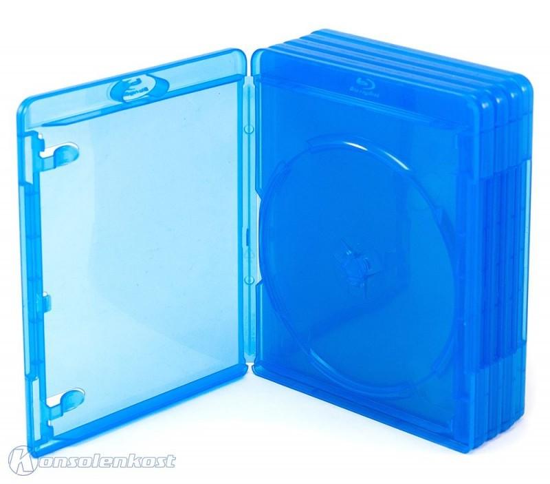 5 Blu-ray Cases / Leerhüllen #blau-transparent
