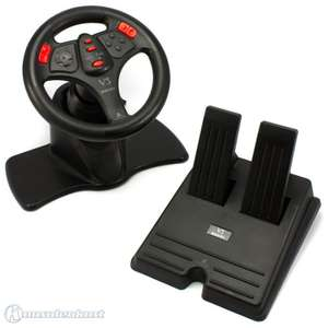 Lenkrad / Racing / Steering Wheel mit Pedale #schwarz V3 / rote Buttons [Interact]
