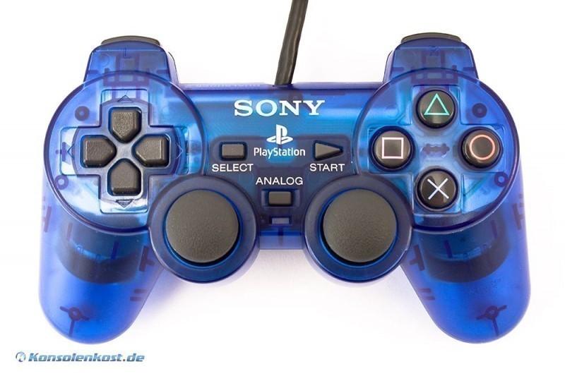PS2 - Original Sony Dualshock 2 Controller / Pad SCPH-10010 #blau-transp.