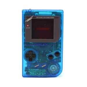 Konsole #Custom Case blau-transparent + Backlight #rot