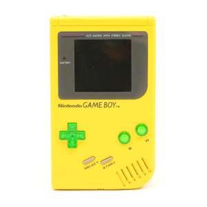 Konsole #Custom Case gelb + grüne transp. Buttons + Backlight #weiss