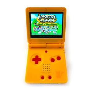 Konsole GBA SP AGS-001 LCD-Mod #Pikachu Edition + Netzteil