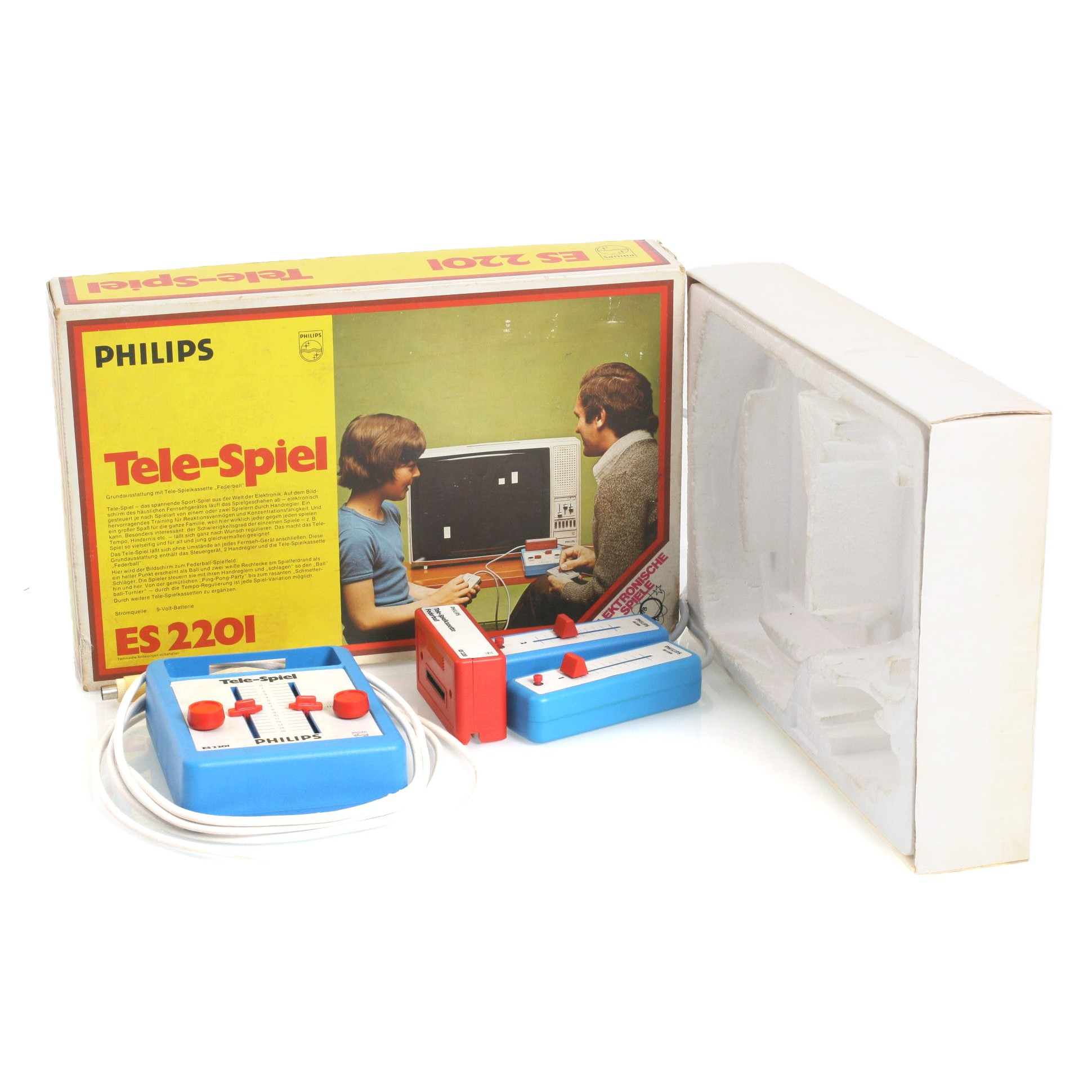 Konsole Philips Tele-Spiel ES 2201 mit Spiel Federball und Zubehör #blau