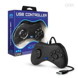 Controller / Pad USB #schwarz Saturn-Style [Cirka]