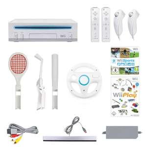 MegaSet: Konsole + Wii Sports + Wii Play + 2 Remotes + Zubehör #weiß