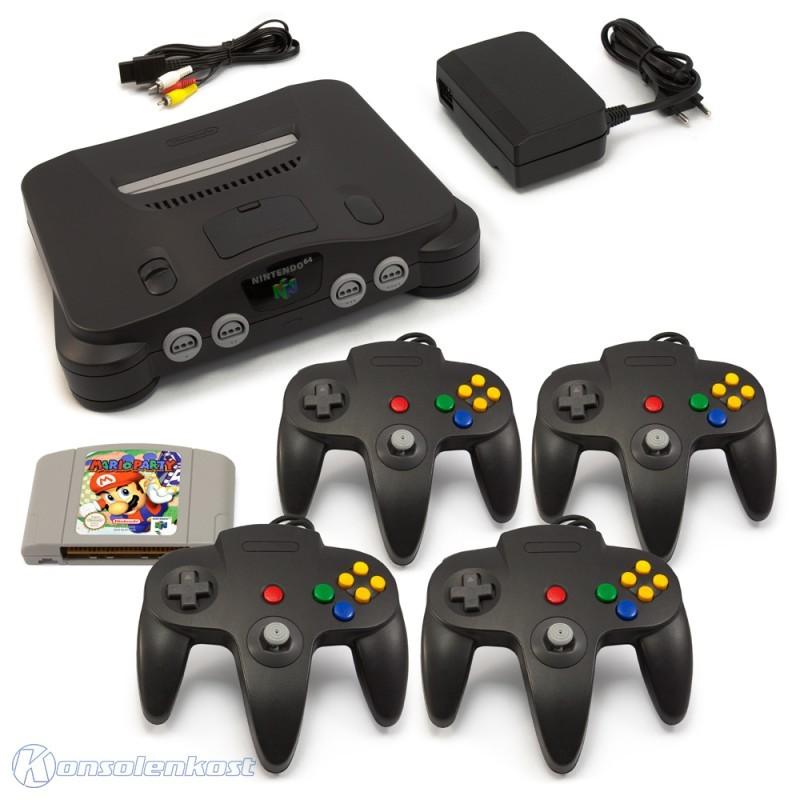 Konsole + Mario Party + 4 Controller + Zubehör