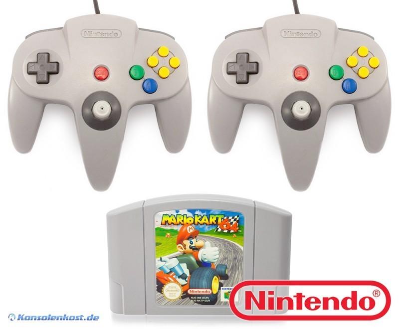 Super Mario Kart 64 + 2 Original Nintendo Controller