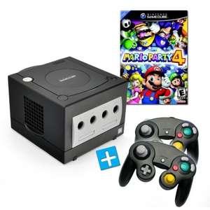 Konsole #schwarz + Mario Party 4 + 2 Controller + Zubehör