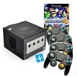 Konsole #schwarz + Mario Party 4 + 4 Controller + Zubehör