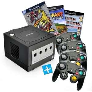 Konsole #schwarz + Mario Kart + Smash Football + Smash Bros + 4 Controller + Zubehör