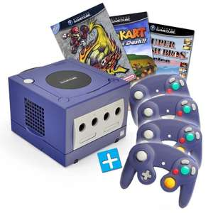 Konsole #lila + Mario Kart + Smash Football + Smash Bros + 4 Controller + Zubehör