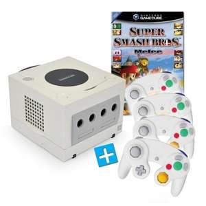 Konsole #weiß + Super Smash Bros. Melee + 4 Controller + Zubehör