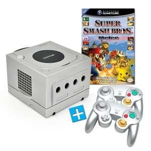 Konsole #silber + Super Smash Bros. Melee + 2 Controller + Zubehör