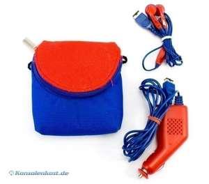 SP - Aufbewahrungstasche mit Kopfhörern und Autoladegerät #blau-rot GBT074