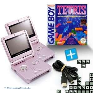 Bundle: 2 Konsolen GBA SP #pink + Tetris + Linkkabel + Netzteil