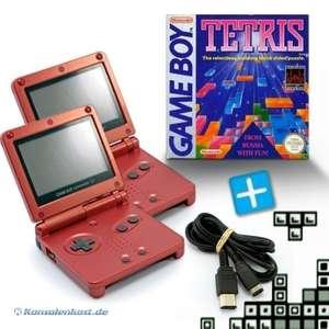 Bundle: 2 Konsolen GBA SP #rot + Tetris + Linkkabel + Netzteil