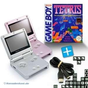 Bundle: 2 Konsolen GBA SP #pink / Silber + Tetris + Linkkabel + Netzteil