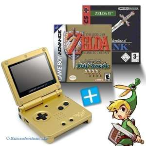 Bundle: Konsole GBA SP + Zelda II + The Legend of Zelda: A Link to the Past + Netzteil