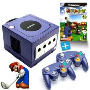 Konsole #lila + Mario Golf + 2 Controller + Zubehör