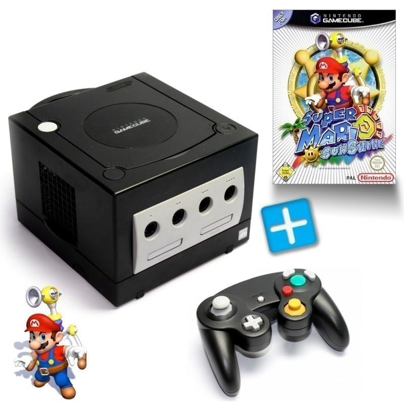 Konsole #schwarz + Super Mario Sunshine + Controller + Zubehör