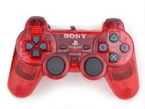 Original Sony Dualshock 2 Controller / Pad SCPH-10010 #rot-transp.