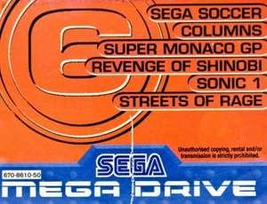 6 in 1: Soccer + Columns + Monaco GP + Shinobi + Sonic 1 + Streets of Rage