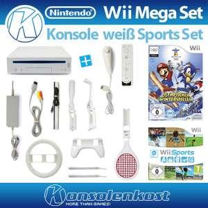 MegaSet: Konsole + Mario & Sonic + Wii Sports + Remote + Zubehör #weiß