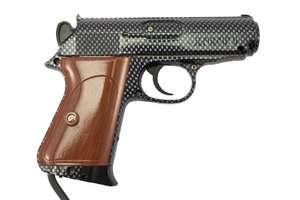 Light Gun / Pistole / Phaser #silber-schwarz Scorpion / holzfarbener Griff