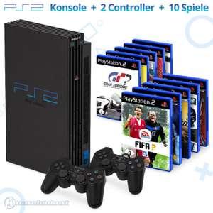 MegaSet: Konsole + 10 Spiele + 2 Original Controller + Zubehör #schwarz