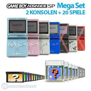 MegaSet: 2 Konsolen GBA SP + 20 Spiele + Netzteil