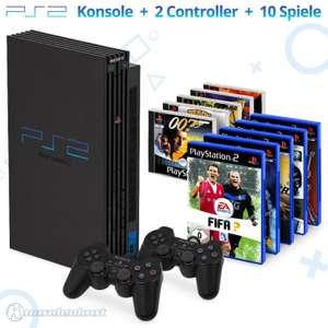 MegaSet: Konsole + 10 PS1 & PS2 Spiele + 2 Original Controller + Zubehör #schwarz