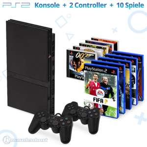 MegaSet: Konsole Slim + 10 PS1 & PS2 Spiele + 2 Original Controller + Zubehör #schwarz