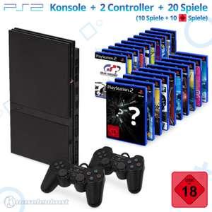 MegaSet: Konsole Slim + 20 Spiele + 2 Original Controller + Zubehör #schwarz