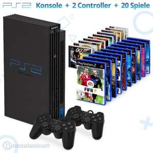 MegaSet: Konsole + 20 PS1 & PS2 Spiele + 2 Original Controller + Zubehör #schwarz