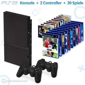 MegaSet: Konsole Slim + 20 PS1 & PS2 Spiele + 2 Original Controller + Zubehör #schwarz