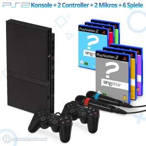 MegaSet: Konsole Slim + 6 SingStar Spiele + 2 Mikros + 2 Original Controller + Zubehör #schwarz