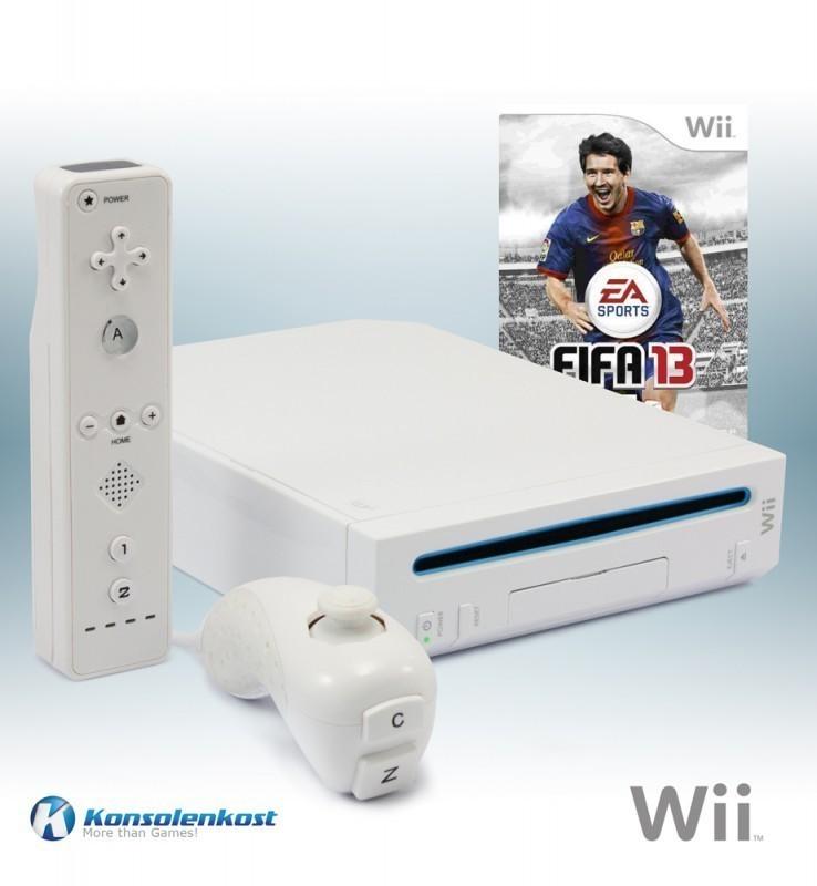 Konsole #weiß + FIFA 13 + Remote + Zubehör