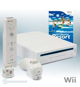 Konsole #weiß + Wii Sports Resort + Remote + Motion Plus Adapter + Zubehör