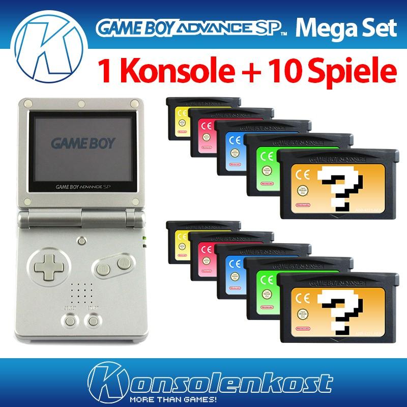 MegaSet: GBA SP Konsole + 10 GB Spiele + Netzteil #silber/platin