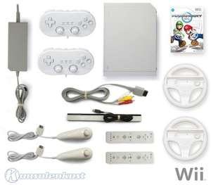 Konsole #weiß + Mario Kart + 2 Remotes + 2 Controller + 2 Lenkräder + Zubehör