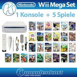 MegaSet: Konsole + 5 Spiele + Remote + Zubehör #weiß