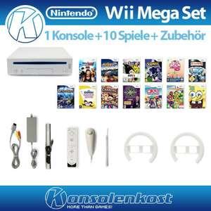 MegaSet: Konsole + 10 Spiele + Remote + Lenkräder + Zubehör #weiß