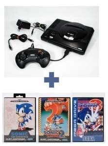 Konsole MD1 + Sonic 1 + Sonic 2 + Sonic 3 + Original Controller + Zubehör