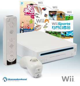 Konsole #weiß + Wii Sports + Wii Play + Big Brain Academy + Remote + Zubehör