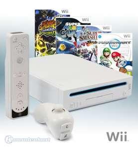 MegaSet: Konsole + Mario Kart + Smash Bros + Mario Galaxy + Mario Football + Remote #weiß