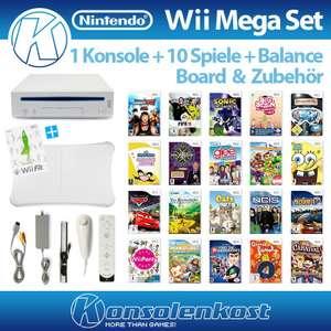 MegaSet: Konsole + 10 Spiele + Remote + Balance Board + Zubehör #weiß